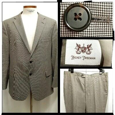 Hickey Freeman Mens Size 48R Houndstooth Wool Suit Dual Vents Flat Front Pants