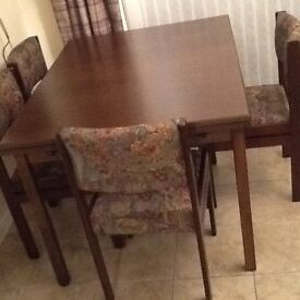 Dark wood extending table and 6 chairs 900mm X 1200mm (3' X 4') extends to 6.5'