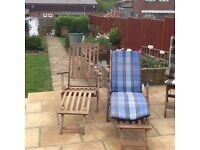 4 Wooden Garden Chairs complete with Covers & 2 Wooden Loungers with Covers