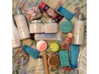 A collection of creams, soaps