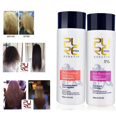 PURE Brazilian Keratin Hair Treatment Straightening Brazil Blow Dry+Shampoo Kit