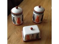 Cat canisters x2 plus butter dish