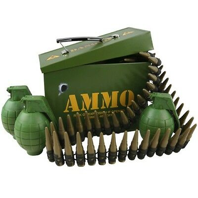 KIDS ARMY AMMO GIFT TIN FULLY LOADED BULLET BELT 3 GRENADES BOYS SOLDIER PLAY