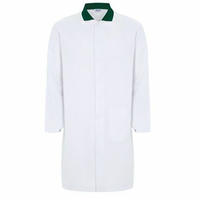 "Men's White Food Trade / Lab Coat with Green Collar – 124cm (48"")"