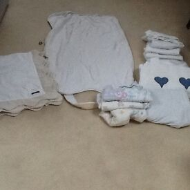 Baby bedtime and bath bundle. Blankets, covers, towels, swaddles