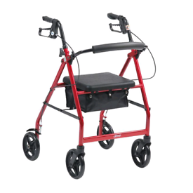 Mobility aid walker with seat