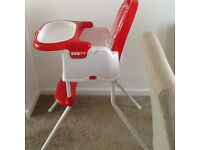 Babys high chair excellent condition goes down to a low chair. Comes from a smoke free home