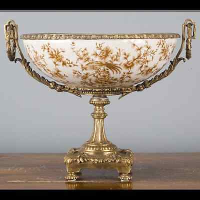 NEW MUSE PORCELAIN BRONZE ORMOLU footed centerpiece with birds flowers