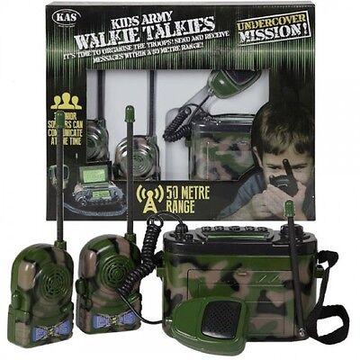 KAS KIDS ARMY WALKIE TALKIES 3 WAY COMMS BASE SET 50M RANGE SOLDIER ROLE PLAY