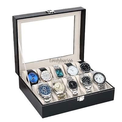 10 Watch Box Mens Black Leather Display Glass Top Jewelry Case Organizer & LOCK