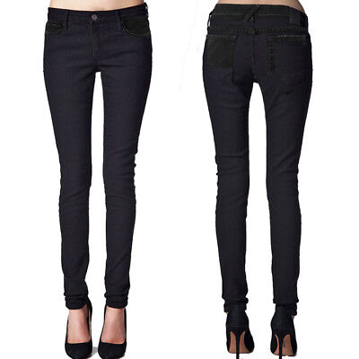 Kill City By Lip Service Junkie Fit Womens Stretch Skinny Jeans Black NEW 26-30 Black Junkie Fit Jeans