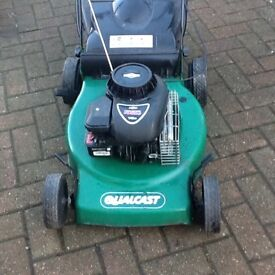"""Qualcast self propelled petrol lawnmower 18"""" cutting blade. With grass collector."""