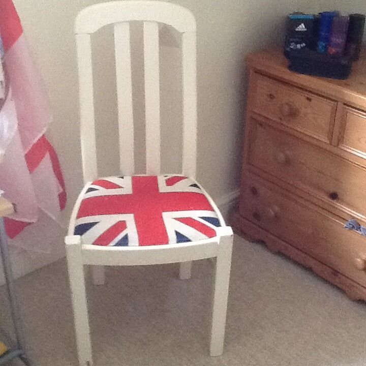 Chair, bedroom chairoccasional chairin Alcester, WarwickshireGumtree - Chair currently used as bedroom chair but appropriate as occasional chair , painted in Farrow and Ball White Tie . Union Flag seat with some marks to the fabric as pictured . Lovely shape to back solid wood firm chair ,Ideal chair for teenagers room...