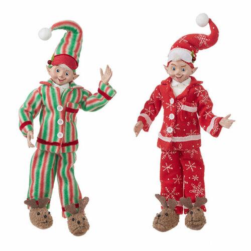 "RAZ Imports 20"" Posable Elves Elf Set/2 Pajama Red Green Christmas NEW!"