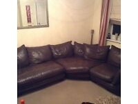 Corner sofa, chair and footstool for sale