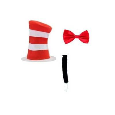Erwachsene Hut Katze Im Hut Fliege Schwarz Tail - Katze Im Hut Buch Kostüm
