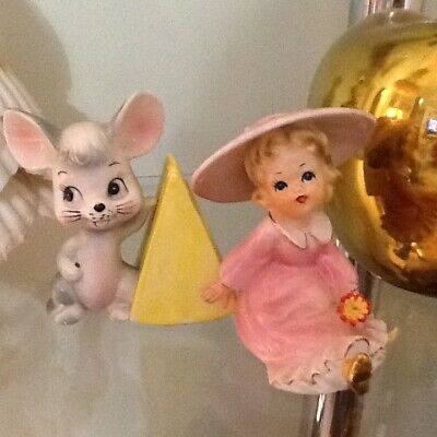 vintage 1950 collectable kitsch mouse with cheese cocktail stick holder and lady