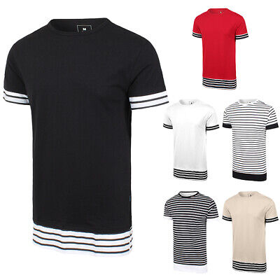 Mens Hip Hop Hipster Longline Striped Accent With Side Slit T-Shirt, Brand New