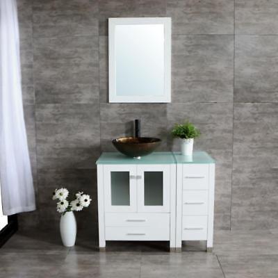 36'' Bathroom Vanity Wood Cabinet White Ceramic Vessel Sink Faucet Mirror Combo - Modern Bathroom Sinks