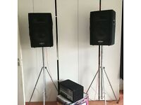 PA System: Phonic Powerpod615 150W mixer/amp & 2*Phonic SE712 150W speakers including stands. £150.