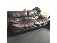 Brown Lazy Leather Couch 3&2 FREE