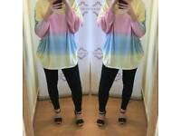 Rainbow batwing top