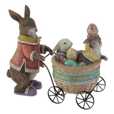 NEW!~RAZ Imports~RESIN MAMA BUNNY RABBIT, BABIES & EGGS~HAPPY EASTER BASKET CART - Happy Halloween Momma