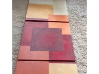 Three canvas frame red/beige abstract picture. Slightly textured