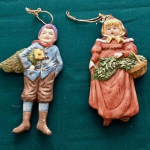 2 old vintage Hand made painted pottery tree dolls