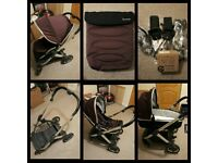 Babystyle Oyster 2 pram in Damson with carrycot, seat, footmuff & adapters - Excellent Condition