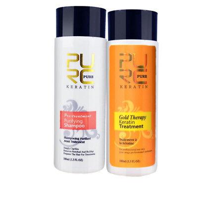 Pure 100ml Gold Brazilian Keratin Treatment Shampoo Hair Straightening Care Set
