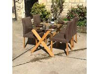 HABITAT DUBLIN 4 SEATER OAK AND GLASS DINING TABLE. COMPLETE WITH 4 CHAIRS