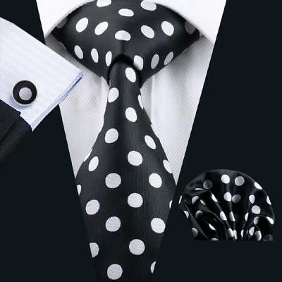 USA Men Ties Black White Polka Dot Silk Necktie Set Woven Business Wedding](Black And White Wedding Sets)