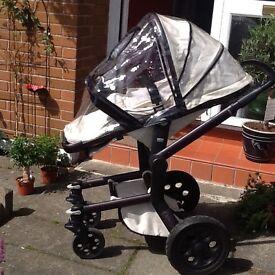 Joolz pram & pushchair, footmuff, change bag, rain over & adaptors - Excellent condition
