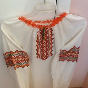 Ukrainian Blouse with Orange & Green Embroidery