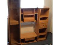 Living room multi purpose storage unit comprising display unit, TV unit, drawers and shelving