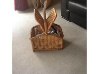 New picnic basket and new melamine plates and bowls