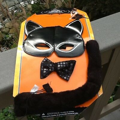Child or Women's 3 Piece~Black Cat Mask~Bow~Tail~Costume Halloween~Cosplay~NEW