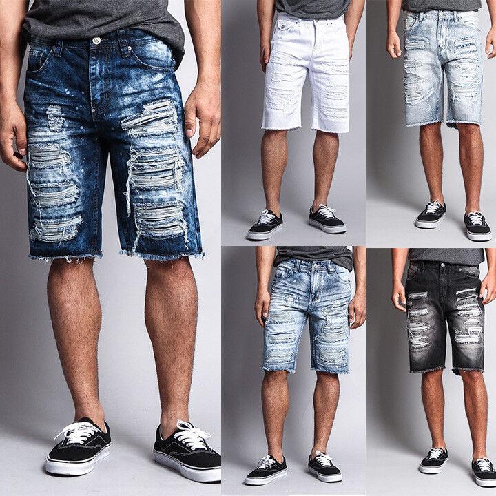 Men's Distressed Rip Colored Jean Pant Denim Shorts