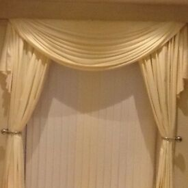 Cream curtains and matching scarf