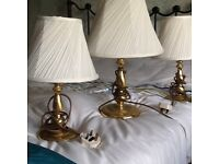 Table lamps in brushed brass effect