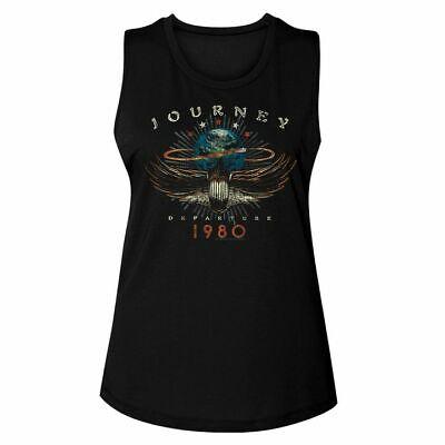 Journey Womens Muscle Tank Top Black 1980 Sleeveless Graphic Fashion (1980 Womens Fashion)