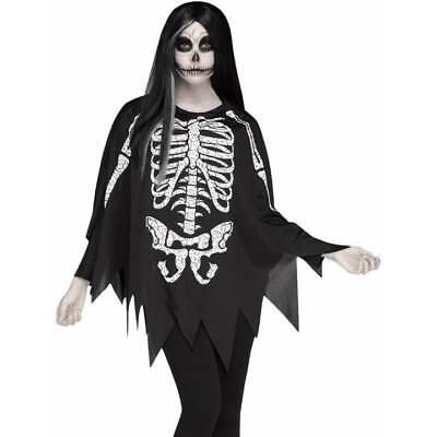 Tag Der Toten Halloween-kostüme (Skelett Poncho Cape Tag der Toten Halloween Kostüm)