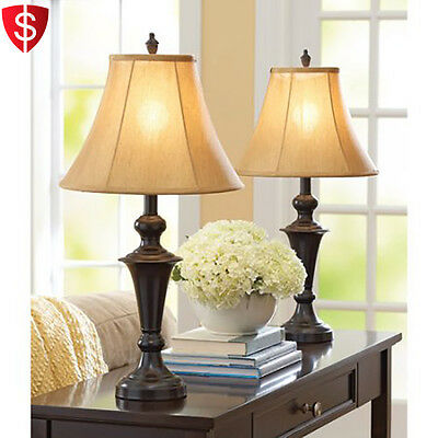 Table Lamp Shades Traditional Home Decor Living Room Nightstand Bedroom Set of 2