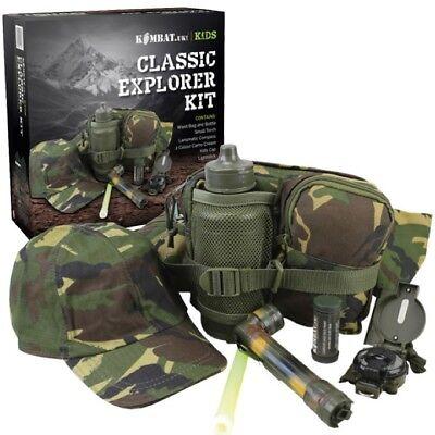 GIFT BOXED BOYS ARMY EXPLORER KIT CAP TORCH BAG WATERBOTTLE CREAM KIDS DPM CAMO (Kids Army Kit)