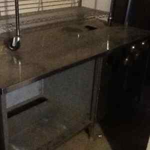 Stainless steel table with cup dispensers Strathcona County Edmonton Area image 1