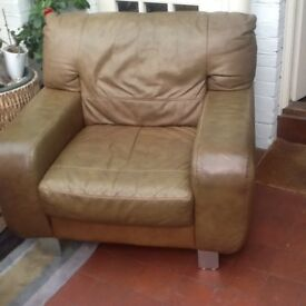 Leather Armchair Saddle Brown