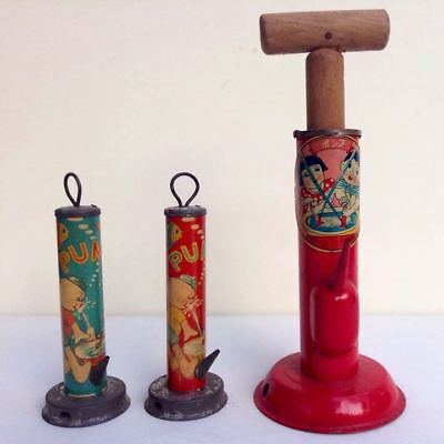 Vintage Rare Tinplate playing pump Showa Prewar 3 pieces set made in Japan F/S