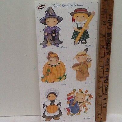Kids Thanksgiving Crafts (Autumn Kids in Costumes Thanksgiving SCRAPBOOKING Stickers by Tie Me To The)