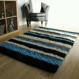 3 new shaggy rugs teal black or green
